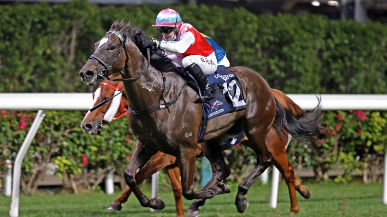 Hollie Doyle pictured winning at Happy Valley in Hong Kong aboard Harmony N Blessed