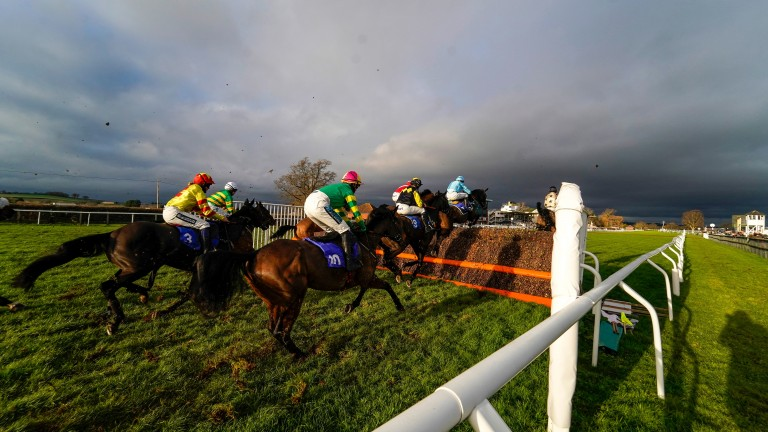 Action from the incident-packed novice chase won by El Kaldoun