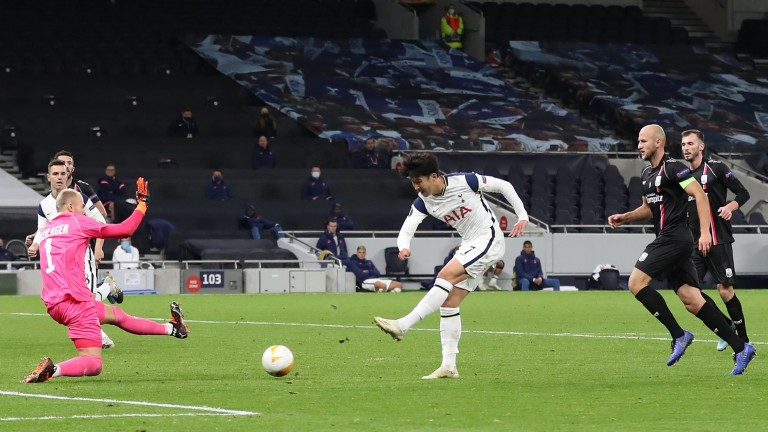 Heung-Min Son scores for Tottenham against LASK in the Europa League