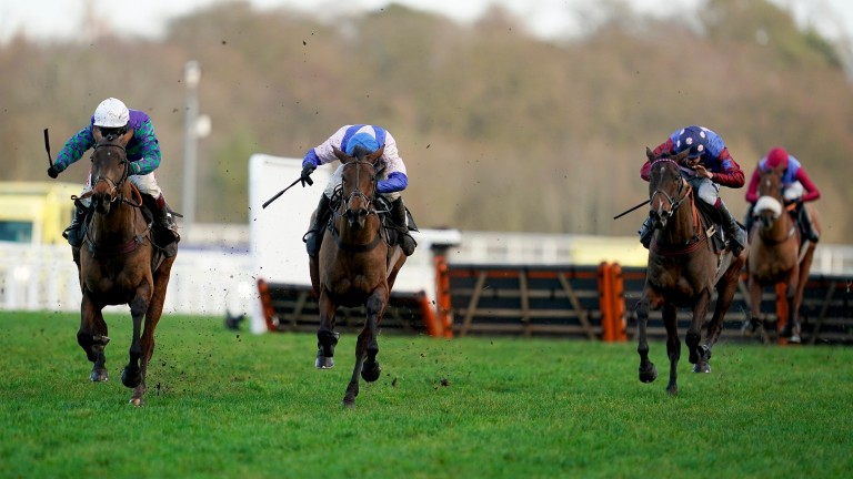 Paisley Park (right) and Thyme Hill (left) will renew their rivalry in the Stayers' Hurdle