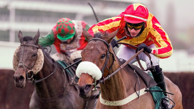 Coole Cody (Tom O'Brien) wins the Paddy Power Gold Cup at Cheltenham in the familiar red and yellow silks of Wayne Clifford
