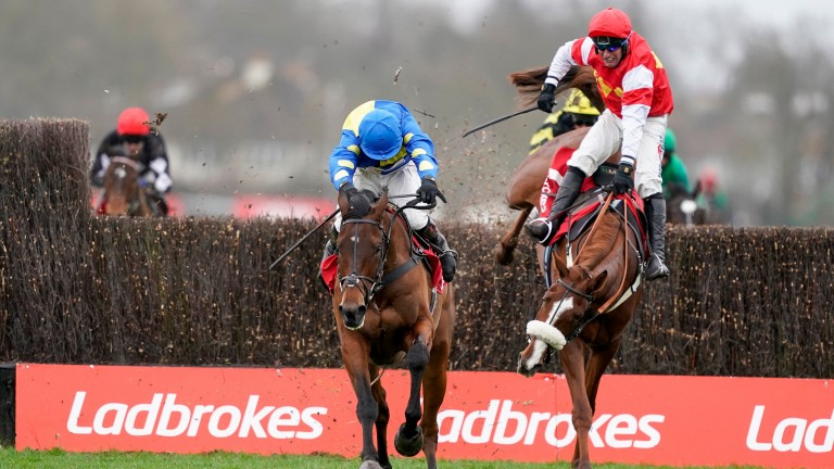SUNBURY, ENGLAND - DECEMBER 26: Harry Skelton riding Shan Blue clear the last to win The Ladbrokes Kauto Star Novices' Chase as Robbie Power riding The BIg Breakaway blunder at Kempton Park Racecourse on December 26, 2020 in Sunbury, England. Owners are a
