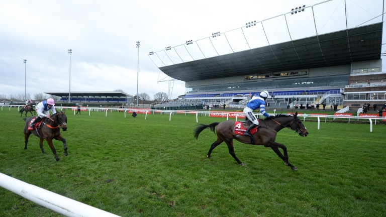 Bryony Frost celebrates after Frodon landed the 2020 King George VI Chase at Kempton