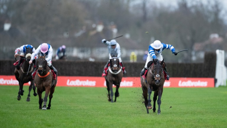 Frodon and Bryony Frost (right) on the way to winning Kempton's King George VI Chase