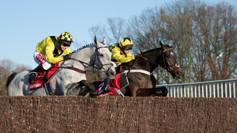 Shishkin (Nico de Boinville, right) jumps the final open ditch with Gumball at Kempton
