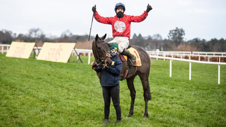 A Plus Tard and Darragh O'Keeffe after winning the Grade 1 Savills Chase at Leopardstown