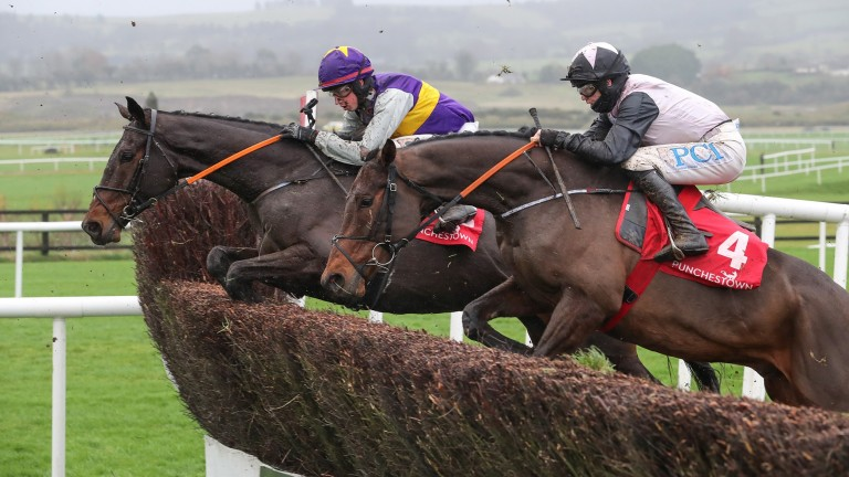Latest Exhibition (far side) jumps alongside subsequent Grade 1 runner-up Pencilfulloflead at Punchestown