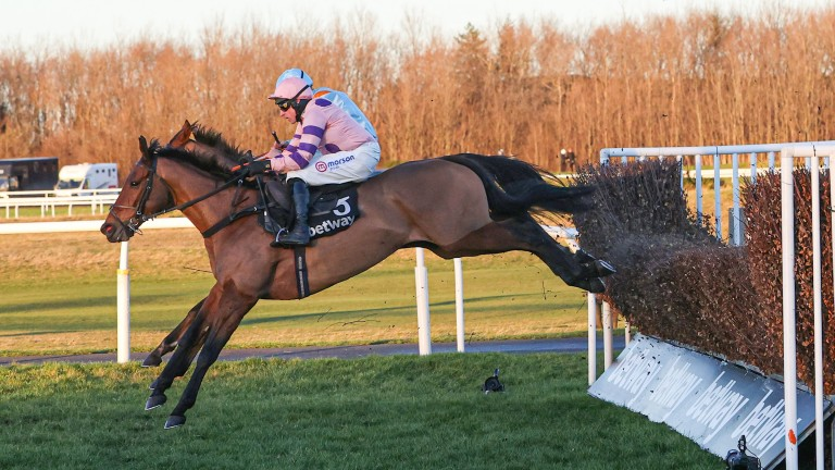 Romain Du Senam: clearing a fence on his way to a resounding victory at Musselburgh