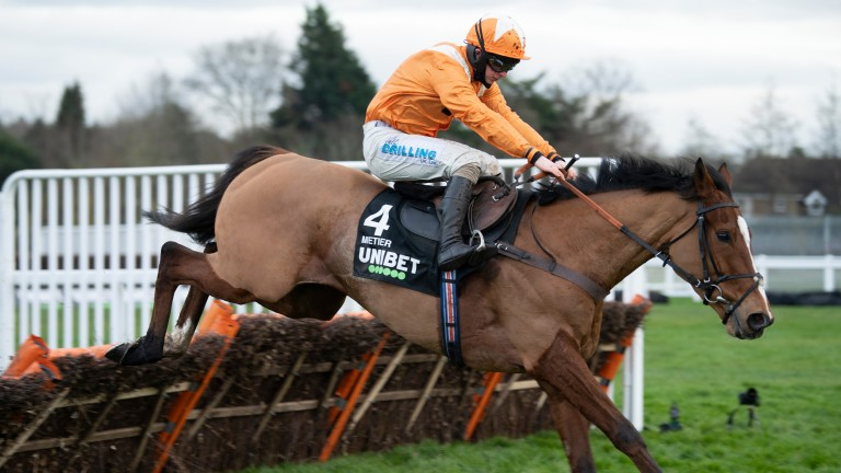 The Harry Fry-trained Metier has Saturday's Tolworth Hurdle won at the final flight