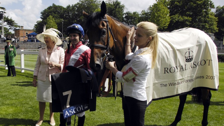Patricia Thompson and Jimmy Fortune pose after Cheveley Park homebred Nannina's second Royal Ascot triumph in the 2007 Windsor Forest Stakes