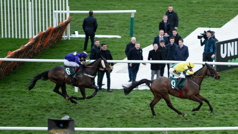 Lord Du Mesnil and Sam Waley-Cohen give chase to Ravenshill and Jamie Codd in the 2020 National Hunt Chase at Cheltenham