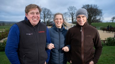 'Everyone here has the same ultimate goal for the horses': Dan Skelton, Bridget Andrews and Harry Skelton enjoy a chilly moment at the yard