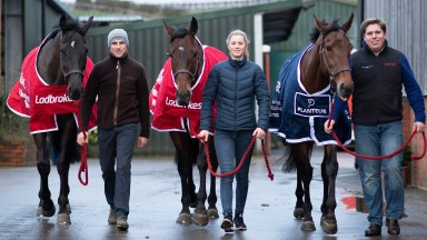 On the march: Nube Negra (with Harry Skelton), Shan Blue (Bridget Andrews) and Allmankind (Dan Skelton) parade with intent at Lodge Hill