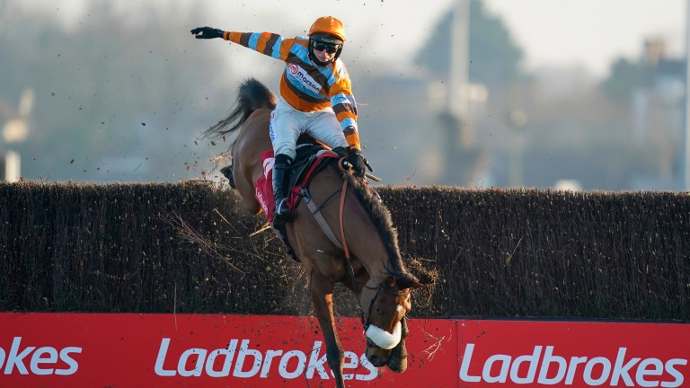 Hold on tight: Harry Cobden had to display some cowboy-riding talents to keep the partnership with Master Tommytucker intact at the final fence