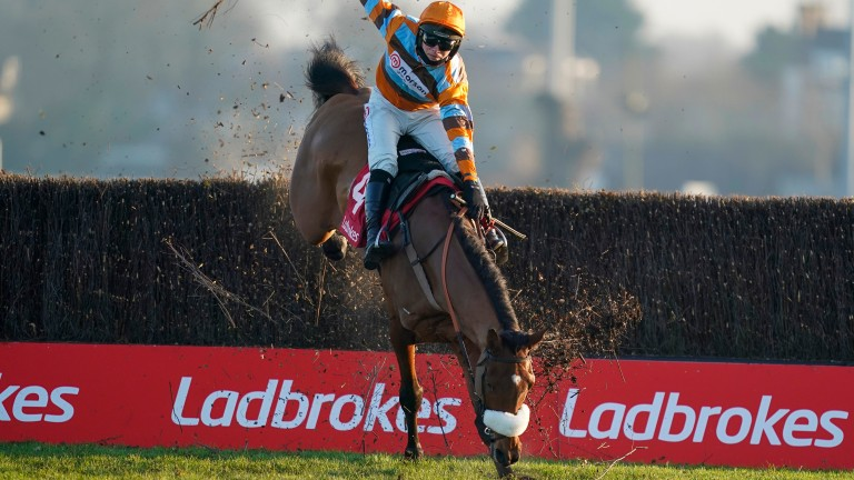 Master Tommytucker almost comes down at the final fence of the Silviniaco Conti Chase