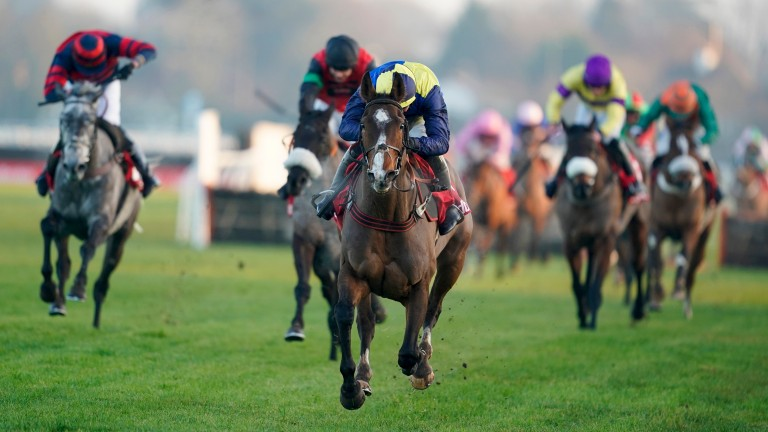 SUNBURY, ENGLAND - JANUARY 09: Ben Jones riding Boreham Bill clear the last to win The Ladbrokes Lanzarote Handicap Hurdle at Kempton Park Racecourse on January 09, 2021 in Sunbury, England. Due to the Coronavirus pandemic, owners along with the paying pu
