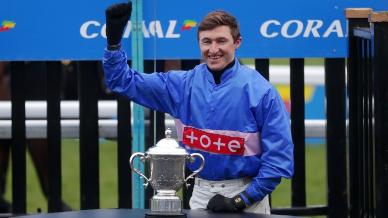Adam Wedge celebrates his Coral Welsh Grand National victory on Secret Reprieve