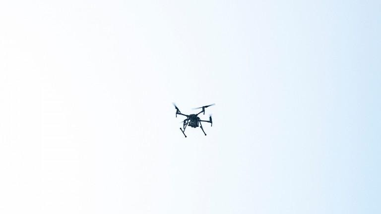 A drone flies over Chepstow racecourse