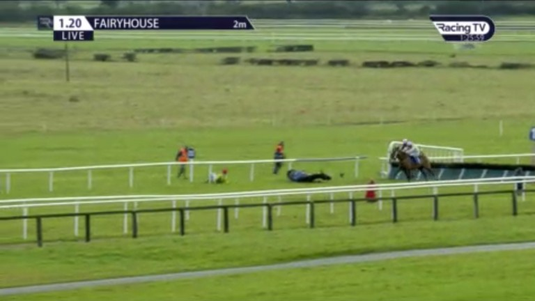 Disaster for rider Paddy Kennedy as Sizing Pottsie comes down, leaving the two remaining runners, Percy Warner and Low Sun, to fight out the finish