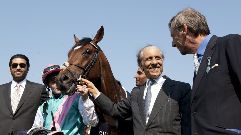 Khalid Abdullah pictured with Frankel after the 2,000 Guineas at Newmarket in 2011