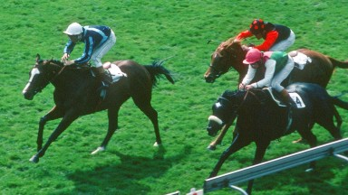 Known Fact and Willie Carson (right) give Khalid Abdullah a first Classic victory in the 1980 2,000 Guineas but only after the disqualification of Nureyev (left)