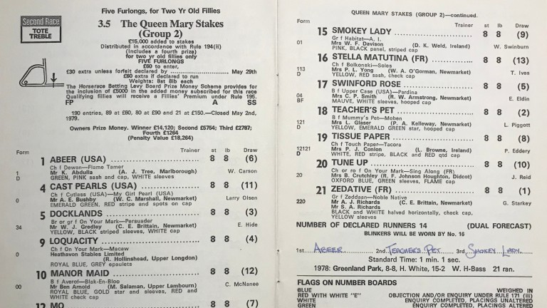 First taste of Group race success: Abeer in the 1979 Queen Mary Stakes
