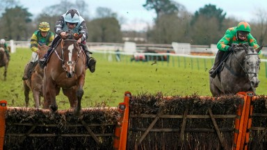 FONTWELL, ENGLAND - JANUARY 14: Aidan Coleman riding Allavina (L, blue) clear the last to win The Sky Sports Racing Sky 415 Mares' Novices' Hurdle at Fontwell Park Racecourse on January 14, 2021 in Fontwell, England. Due to the Coronavirus pandemic, owner