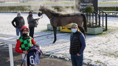 MELGATE MAJEURE (James Sullivan) giving trainer Danny Brooke his 1st ever winner at NEWCASTLE 15/1/21Photograph by Grossick Racing Photography 0771 046 1723