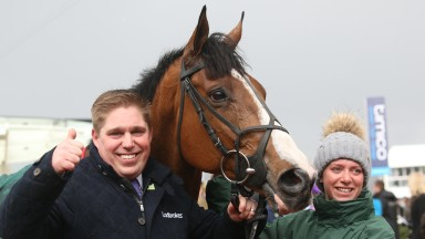 Dan Skelton celebrates Mohaayed's win in the 2018 County Hurdle