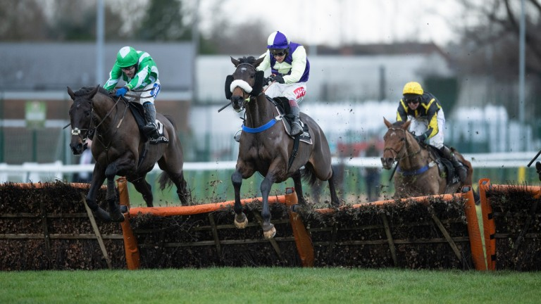 Adrimel (centre): shouldered a 3lb penalty to win the Leamington Novices' Hurdle