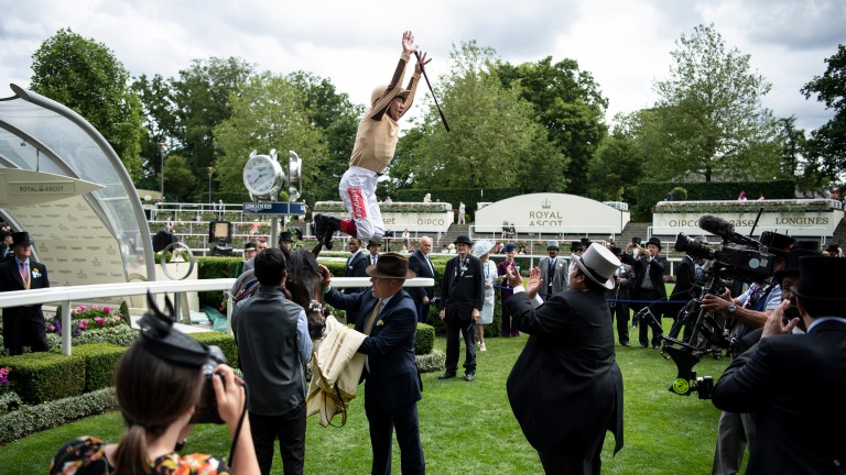 A'Ali and Frankie Dettori win the Norfolk stakes at Royal Ascot 2019 Pic: Edward Whitaker