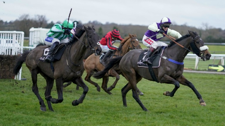 Adrimel (right) clears the last en-route to victory at Warwick