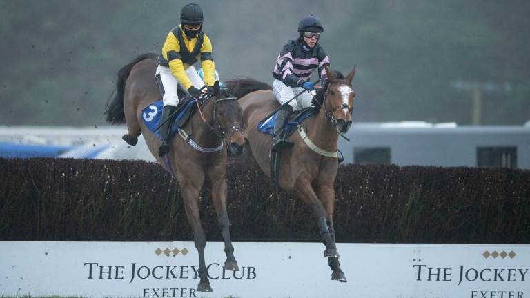 Full Back (right) now has two wins from three over fences after a comfortable victory at Exeter for Gary and Josh Moore