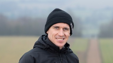 Paddy Brennan, on the gallops  at Ravenswell Farm in Withington, Gloucestershire15.1.21 Pic: Edward Whitaker