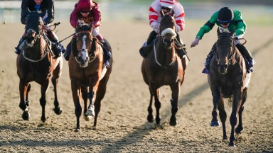 Rossa Ryan riding Fizzy Feet (R, green) win The Betway Handicap at Lingfield Park Racecourse on January 22, 2021 in Lingfield, England.