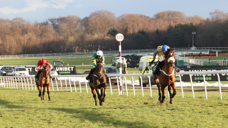 They shall not pass: Navajo Pass wins the Grade 2 The New One Unibet Hurdle from the front with Buveur D'Air (centre) unable to get by