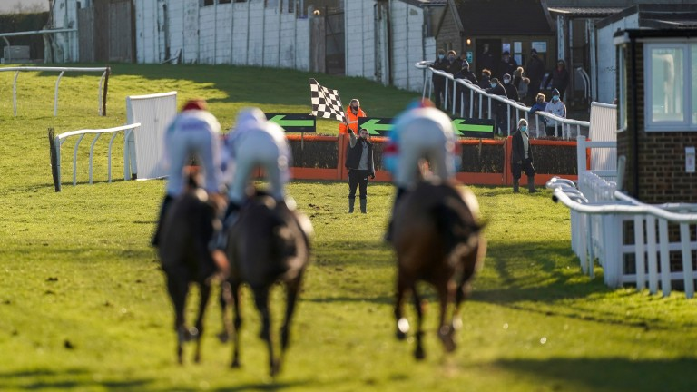 Plumpton: runners bypassed the hurdles in the home straight after Monday's first race