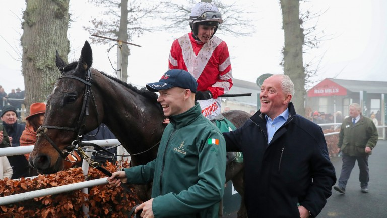 """Lar Byrne (right) on Total Recall's Goffs Thyestes Chase triumph: """"He was a brilliant sub - he came out of the fog and won it very decisively"""""""