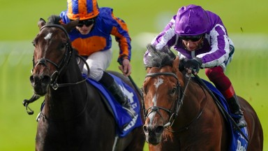 St Mark's Basilica (Frankie Dettori) gets the better of stablemate Wembley (left) to land the Group 1 Dewhurst Stakes at Newmarket in October last year