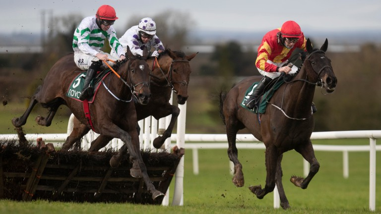 Brazos (right) and Folcano get set to scrap out a controversial finish at Navan on Friday
