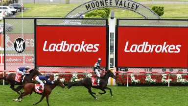 MELBOURNE, AUSTRALIA - OCTOBER 24: Glenn Boss riding #7 Sir Dragonet wins race nine the Ladbrokes Cox Plateduring Melbourne Racing Cox Plate Day at Moonee Valley Racecourse on October 24, 2020 in Melbourne, Australia. (Photo by Robert Cianflone/Getty Imag