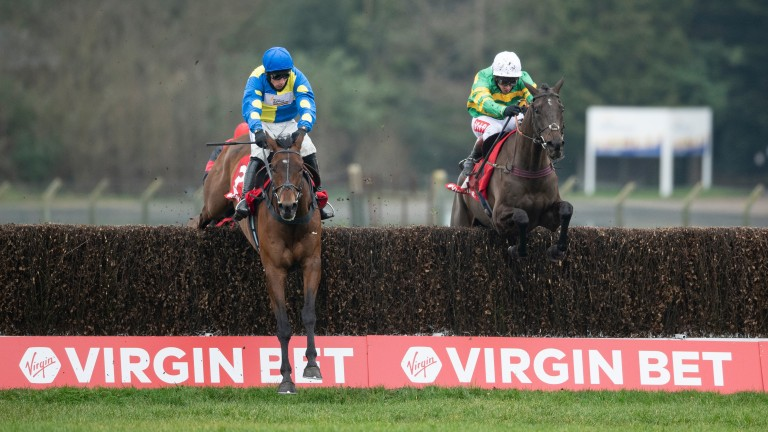Sporting John clears the final fence half a length behind Shan Blue