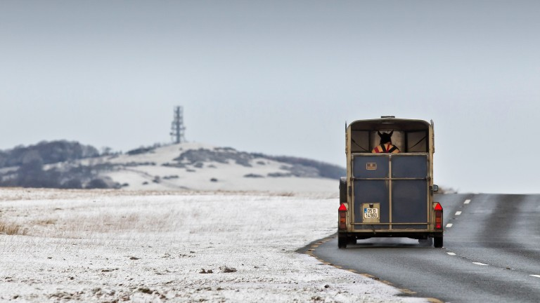 A horse box makes a journey across the wintery landscape at the Curragh