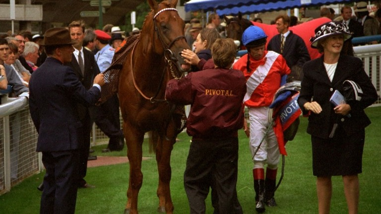 Pivotal and connections in the winner's enclosure at York after his victory in the 1996 Nunthorpe Stakes