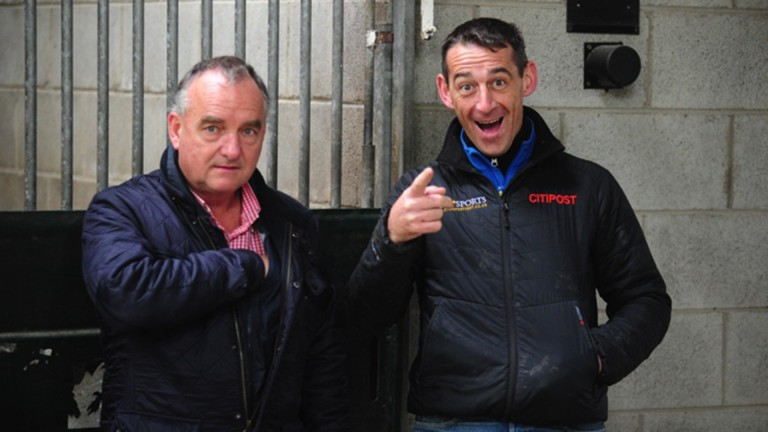 Talent spotters: Peter Vaughan (left) and an animated Davy Russell at Tattersalls