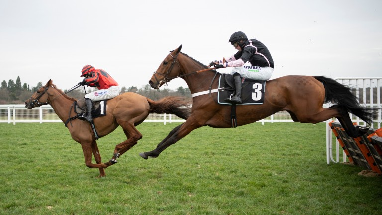Midnight River (Harry Skelton) leads expensive purchase Gallyhill away from the last hurdle at Ascot