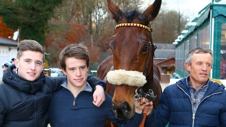 Christophe Dubourg (right) pictured at Fontainebleau with two of his three jockey sons, Pierre (left) and Kilian (centre)