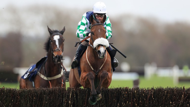 Exelerator Express: one of two horses to finish the 2m novice handicap chase