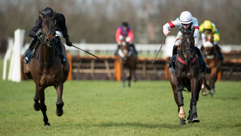 Brave Seasca (right) gets the better of Interconnected at Huntingdon on Thursday