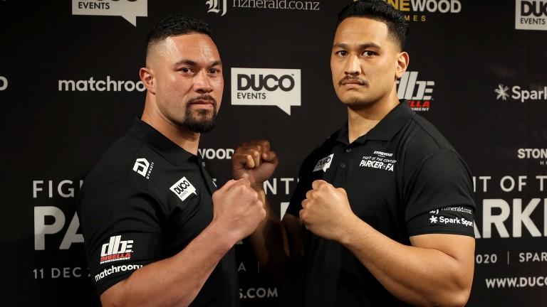 Joseph Parker (left) takes on Junior Fa (right) in Auckland on Saturday